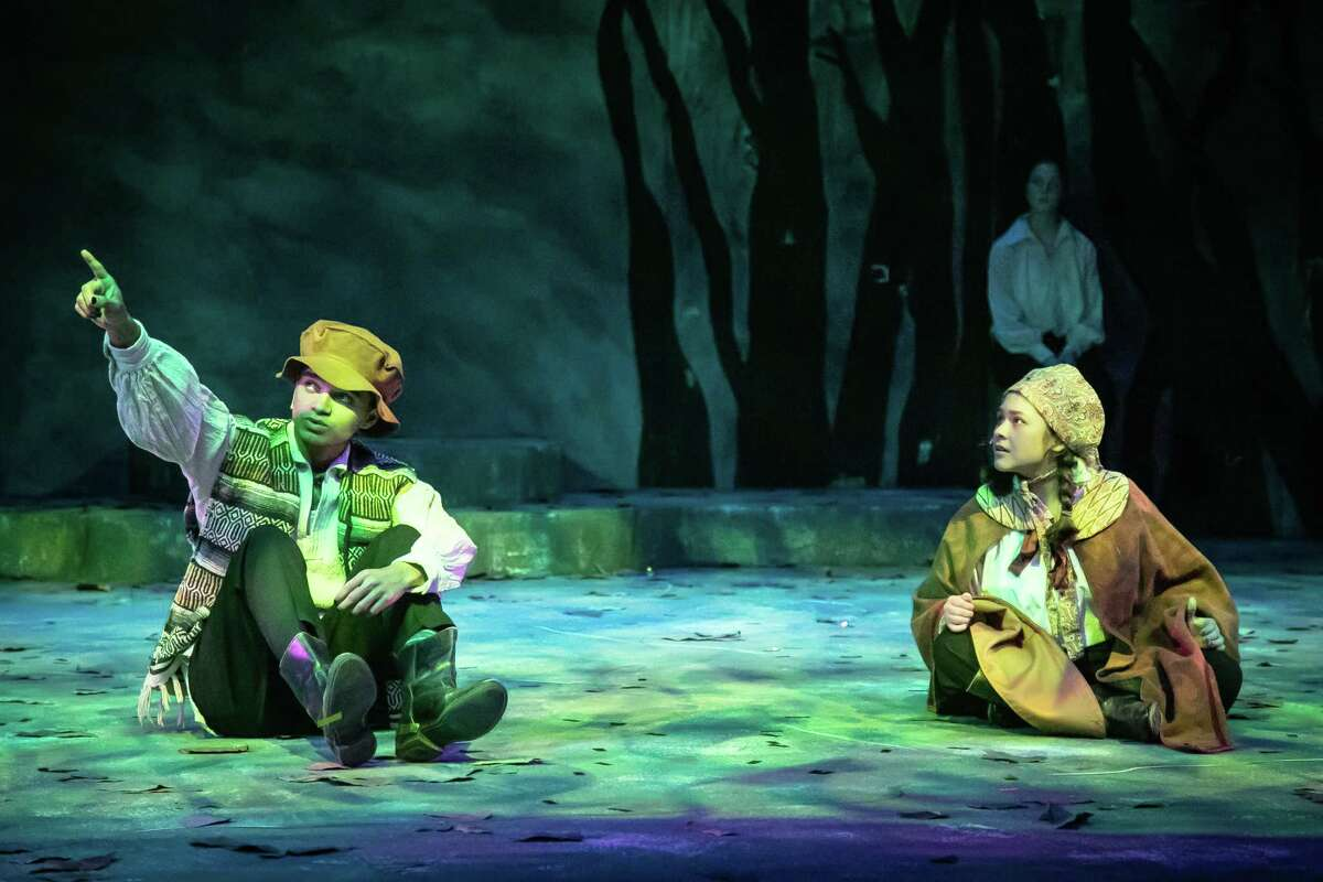 """Dress rehearsal for The Pickwick Players production """"The Magical World of the Brothers Grimm"""" April 20, 2021 at Midland Community Theater. Hansel, played by Xavier Jones, and Gretel, played by Keren Ortega, are lost in the woods. Photo Credit: The Oilfield Photographer, Inc."""