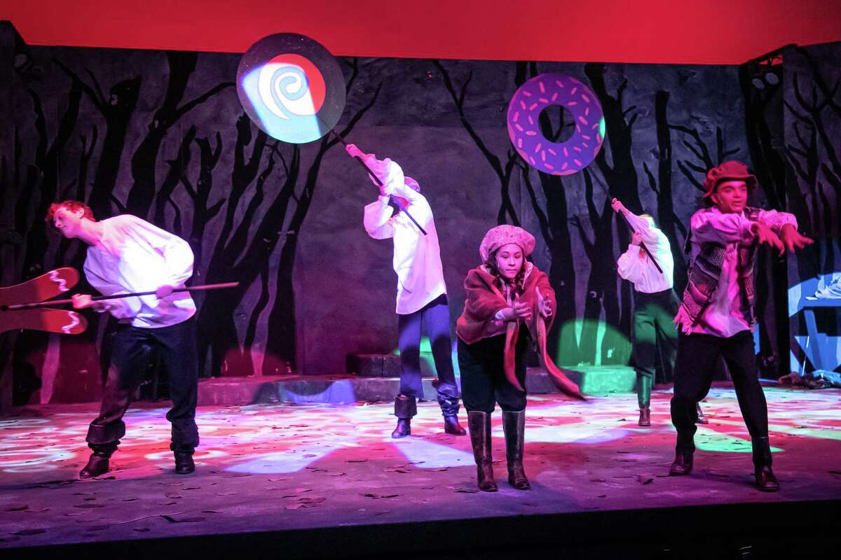 """Dress rehearsal for The Pickwick Players production """"The Magical World of the Brothers Grimm"""" April 20, 2021 at Midland Community Theater. Hansel, played by Xavier Jones, and Gretel, played by Keren Ortega, find a house made of sweets while lost in the woods. Photo Credit: The Oilfield Photographer, Inc."""