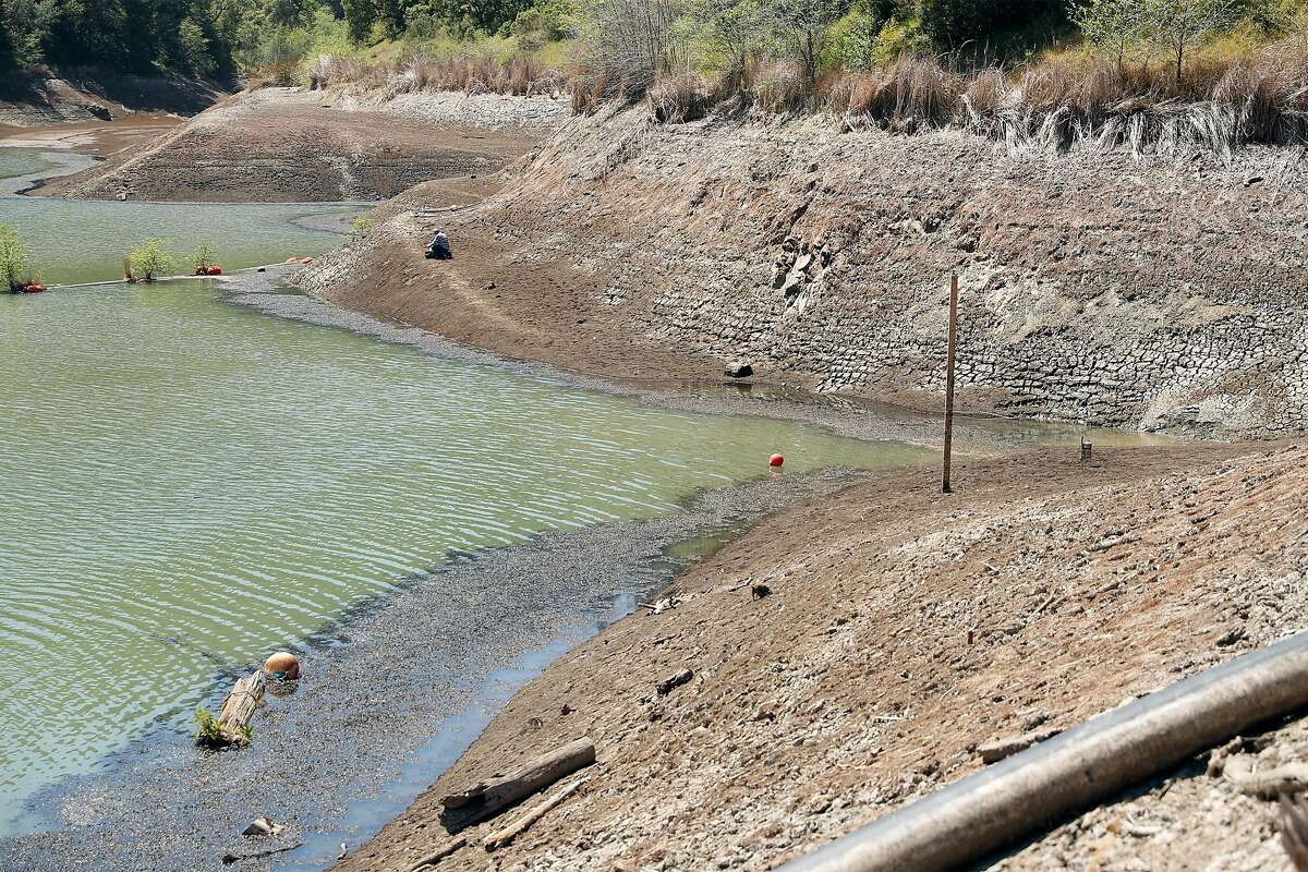 The water level is historically low at Phoenix Lake in Kentfield. The Marin Municipal Water District has imposed mandatory water restrictions on customers.