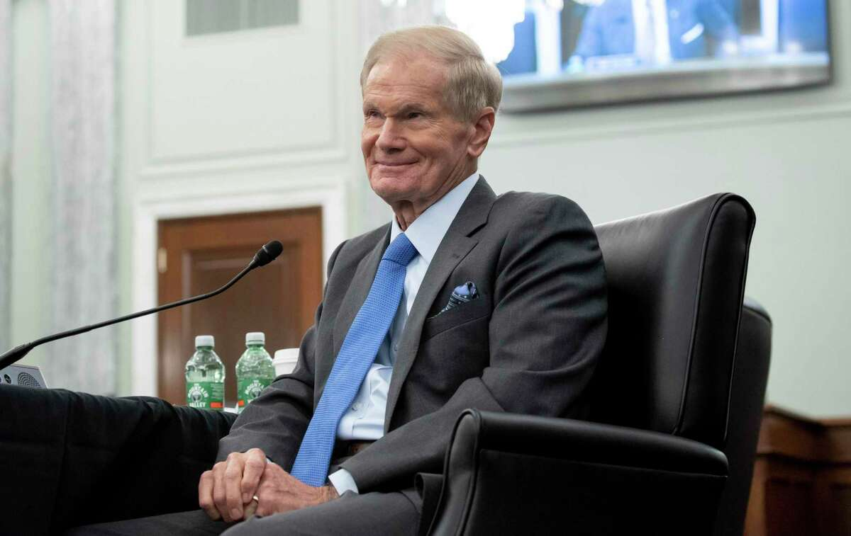 Former Sen. Bill Nelson, nominee to be administrator of NASA, speaks during a Senate Committee on Commerce, Science, and Transportation confirmation hearing, Wednesday, April 21, 2021 on Capitol Hill in Washington.
