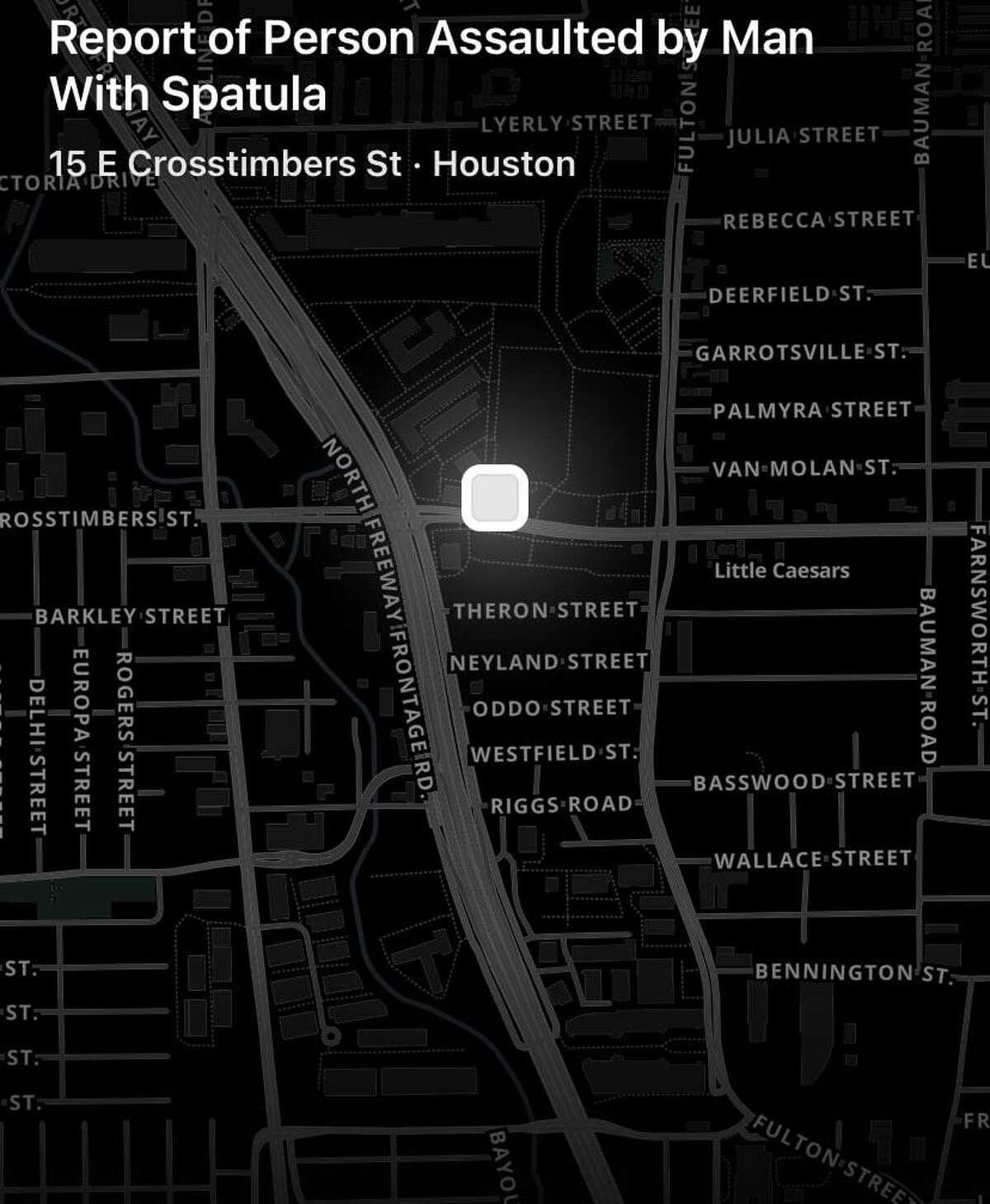 Screen grab from Citizen app in Houston