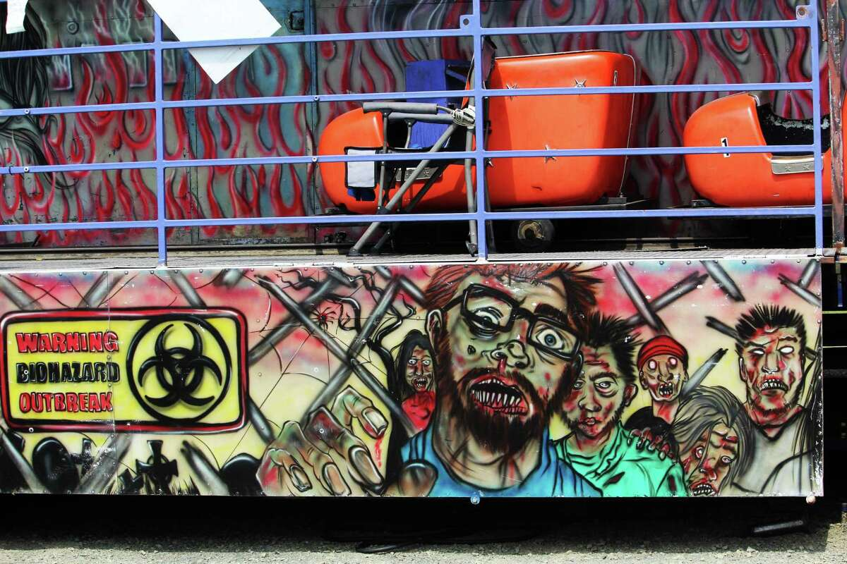 """Coleman Brothers Shows is back this weekend at Palmer Field in Middletown after a year's hiatus during the pandemic. Shown here is the """"frightening"""" funhouse."""