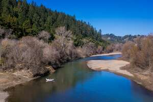 HEALDSBURG, CA - JANUARY 22: The Russian River is back to lower levels on January 22, 2015, near Healdsburg, California. Despite record breaking December rains, the weather pattern has shifted back to warm days, cool mornings, and a lack of moisture, pushing most of California back into a severe drought condition. (Photo by George Rose/Getty Images)