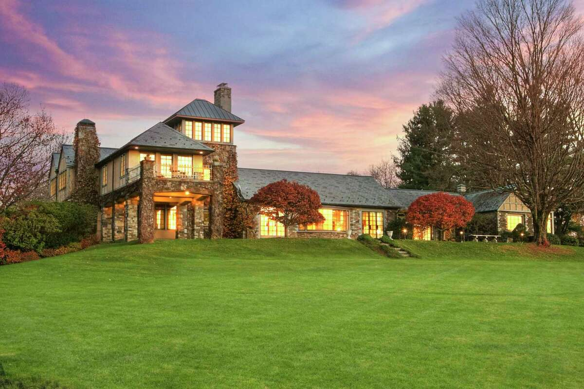 Fourteen-room wood, stone and stucco European chateau at 505 Sport Hill Road, Easton.