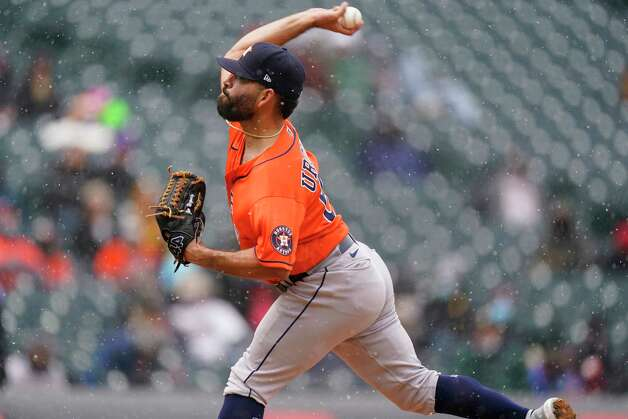 Houston Astros starting pitcher Jose Urquidy works against the Colorado Rockies in the first inning of a baseball game on Wednesday, April 21, 2021, in Denver. (AP Photo/David Zalubowski) Photo: David Zalubowski, Associated Press / Copyright 2021 The Associated Press. All rights reserved.