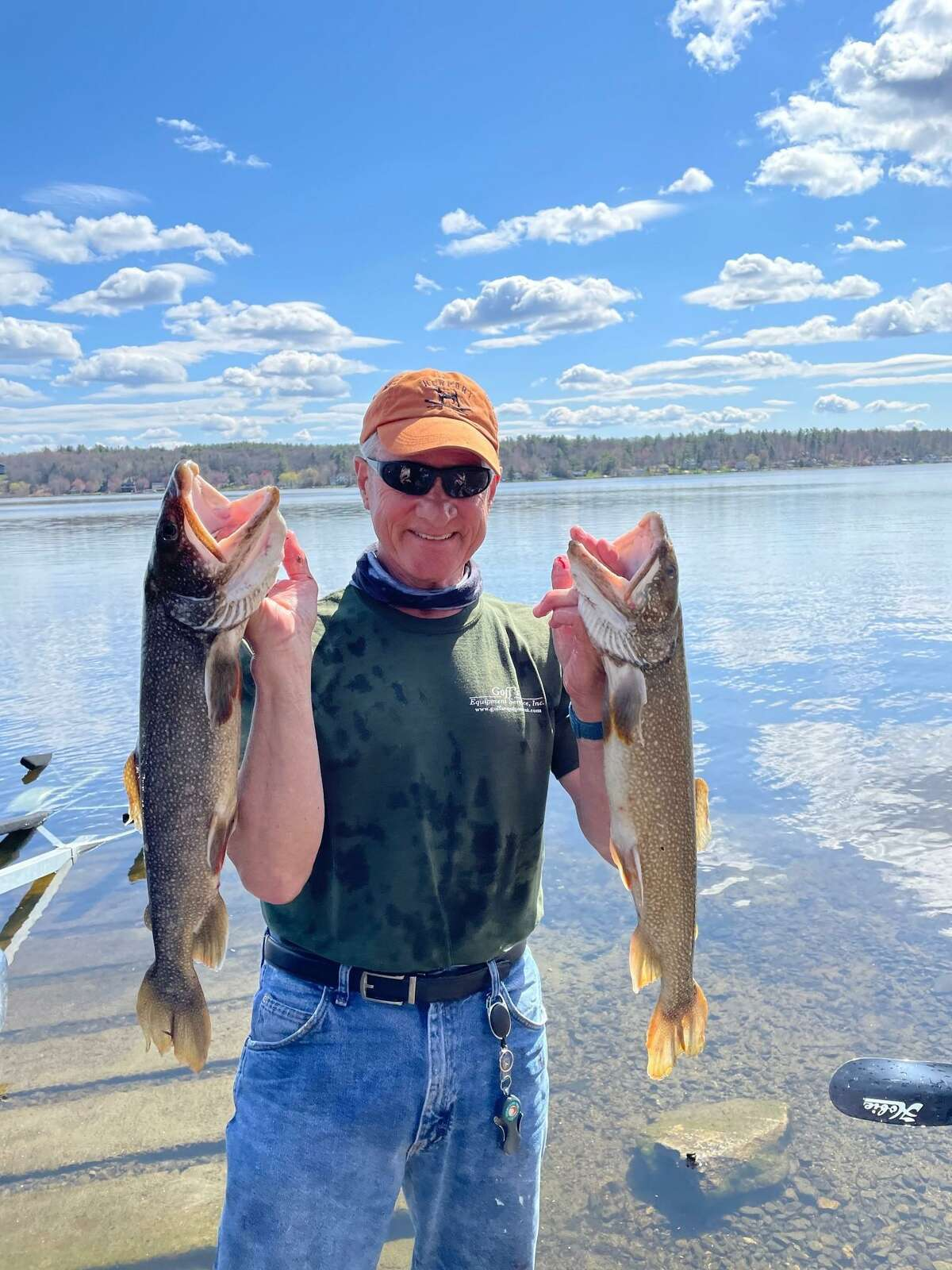 Steve Putnam caught two sizeable trout recently, while on Tyler Pond in Goshen in his paddle kayak. The fish, each about 26 inches and more than five pounds, put up quite a fight before Putnam got them into his kayak.