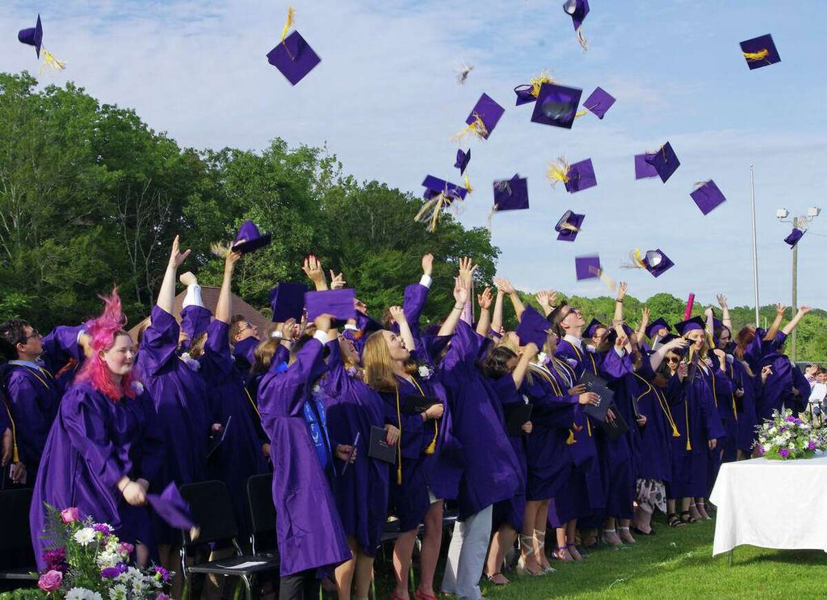 FILE PHOTO - Westbrook High School graduation in 2019. The high school is planning to hold an outdoor prom on May 1 and graduation on June 11.