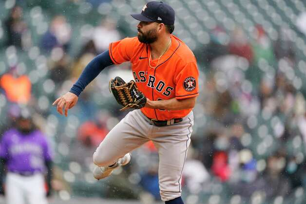 Houston Astros starting pitcher Jose Urquidy works against the Colorado Rockies in the third inning of a baseball game Wednesday, April 21, 2021, in Denver. (AP Photo/David Zalubowski) Photo: David Zalubowski, Associated Press / Copyright 2021 The Associated Press. All rights reserved.