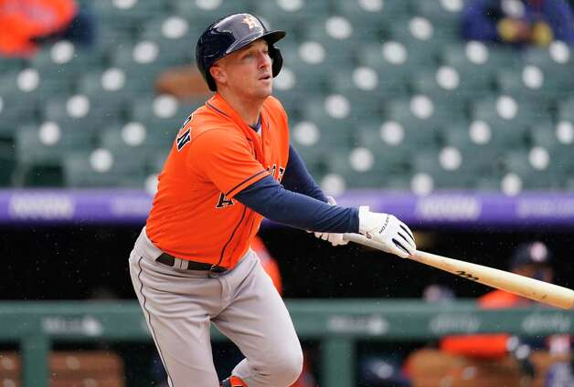 Houston Astros' Alex Bregman fouls off a pitch against the Colorado Rockies in the fourth inning of a baseball game Wednesday, April 21, 2021, in Denver. (AP Photo/David Zalubowski) Photo: David Zalubowski, Associated Press / Copyright 2021 The Associated Press. All rights reserved.