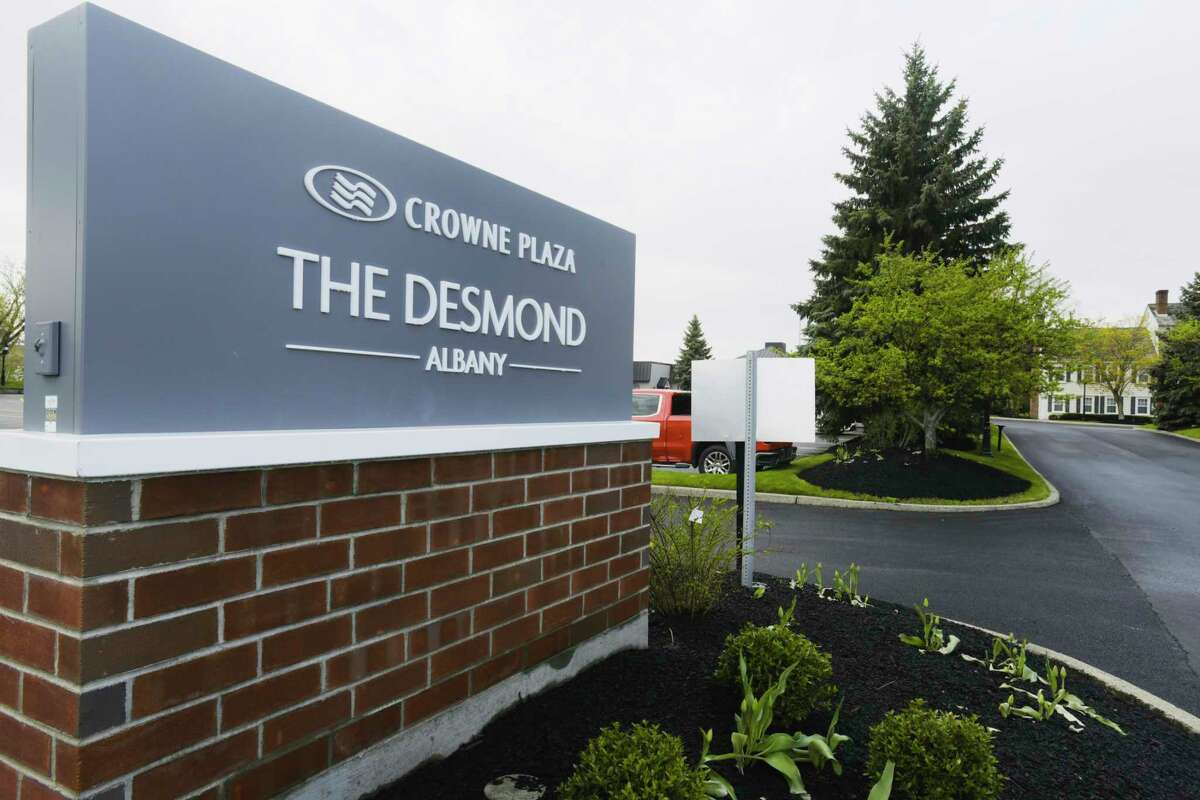 A view of the new sign at the remodeled Crowne Plaza Albany - The Desmond Hotel on Wednesday, April 21, 2021, in Albany, N.Y. (Paul Buckowski/Times Union)