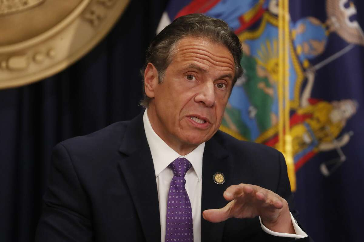 Gov. Andrew Cuomo speaks during a news conference in New York on Monday, April 19, 2021.