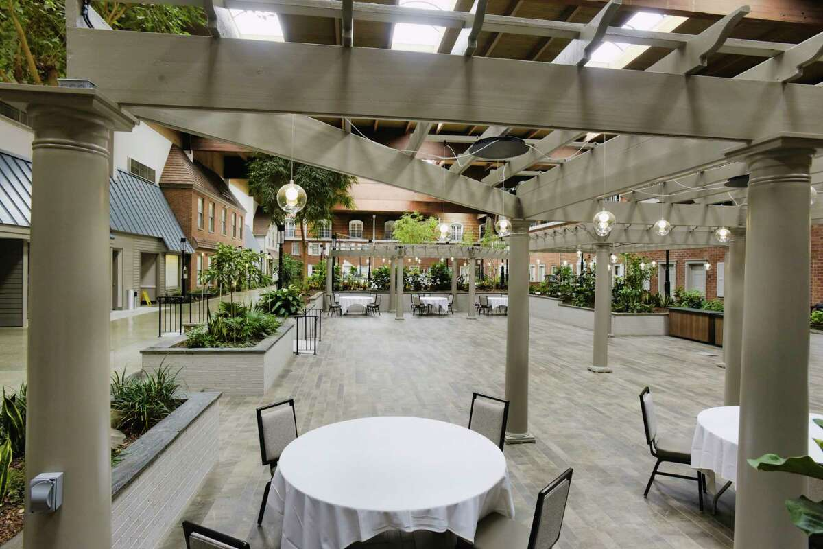 A view of one of the two remodeled courtyards at the Crowne Plaza Albany - The Desmond Hotel on Wednesday, April 21, 2021, in Albany, N.Y. (Paul Buckowski/Times Union)