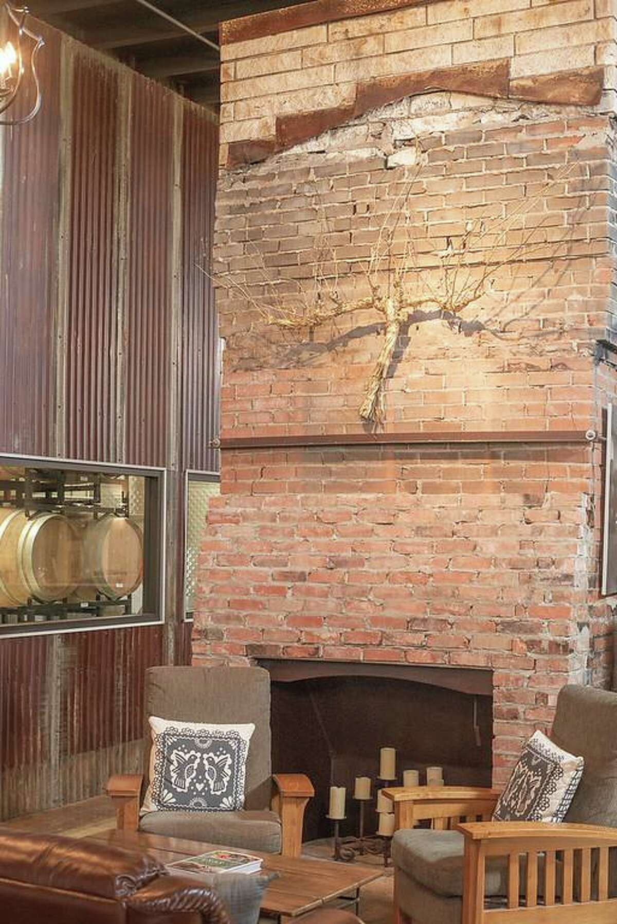 The winery tasting room was built around the charred foundation and fireplace of a hill country home providing an unusual décor to the rustic décor of Kerrville Hills Winery.