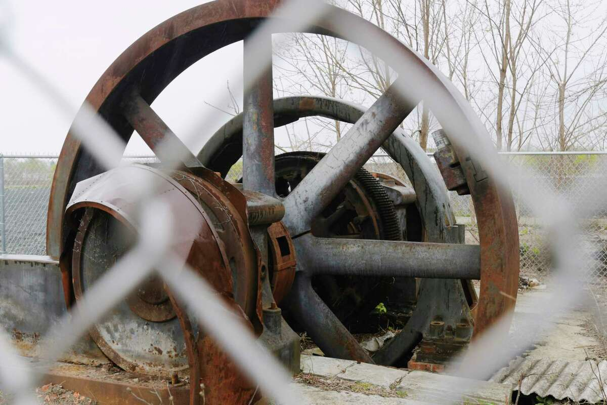 A view of a Corliss steam powered direct current generator on Wednesday, April 21, 2021, in Troy, N.Y. The large generator will be moved to the Burnden Ironworks Museum property. (Paul Buckowski/Times Union)