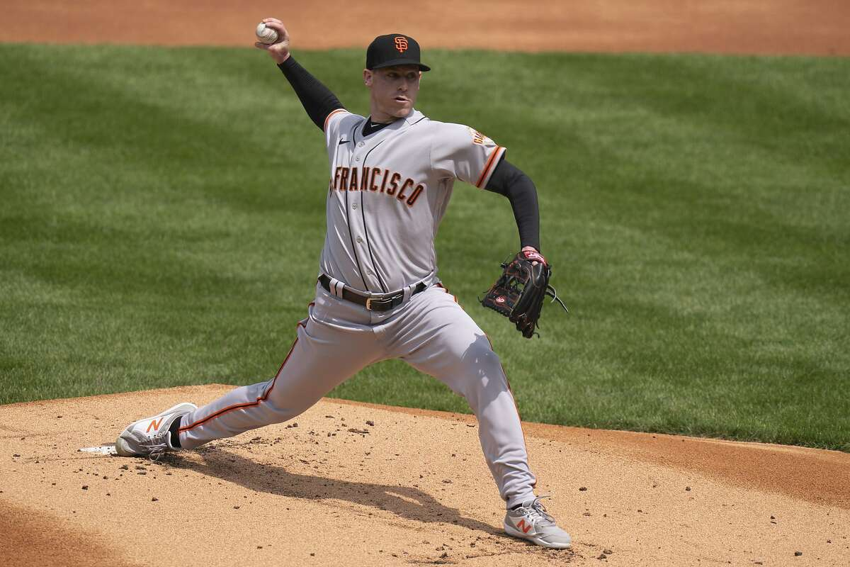 San Francisco Giants starting pitcher Anthony DeSclafani throws a pitch during the first inning of a baseball game against the Philadelphia Phillies, Wednesday, April 21, 2021, in Philadelphia. (AP Photo/Chris Szagola)
