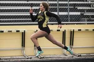 Bullock Creek's Jordyn Edwards competes in the 100 meter dash event during a track meet Wednesday, April 21, 2021 at Bullock Creek High School. (Katy Kildee/kkildee@mdn.net)