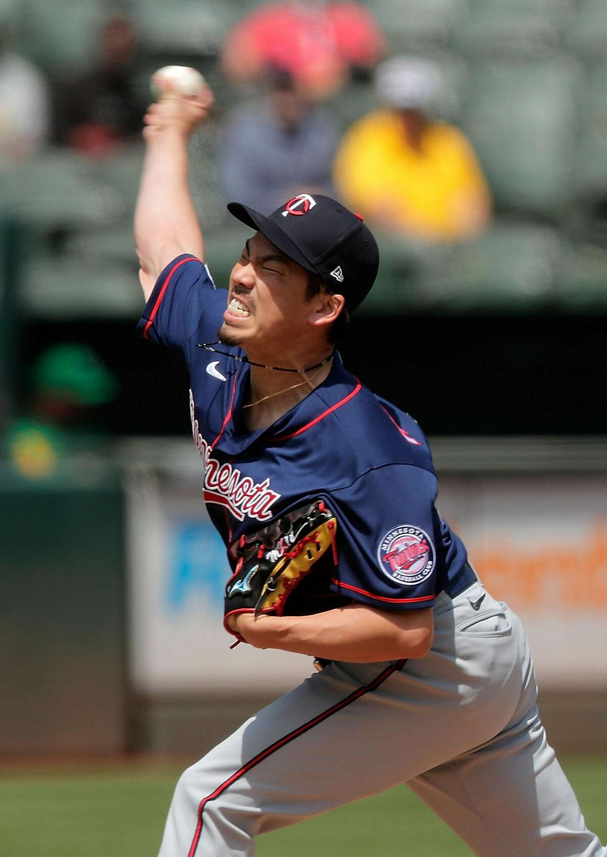 Kenta Maeda (18) pitches in the first inning as the Oakland Athletics played the Minnesota Twins at the Oakland Coliseum in Oakland, Calif., on Wednesday, April 21, 2021.