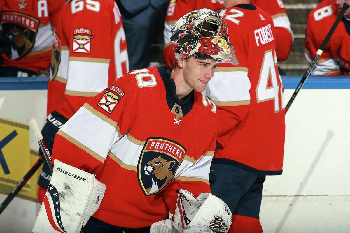 Panthers goalie Spencer Knight, a Darien native, made 33 saves in his NHL debut, a 5-1 win over the Blue Jackets in Sunrise, Fla.