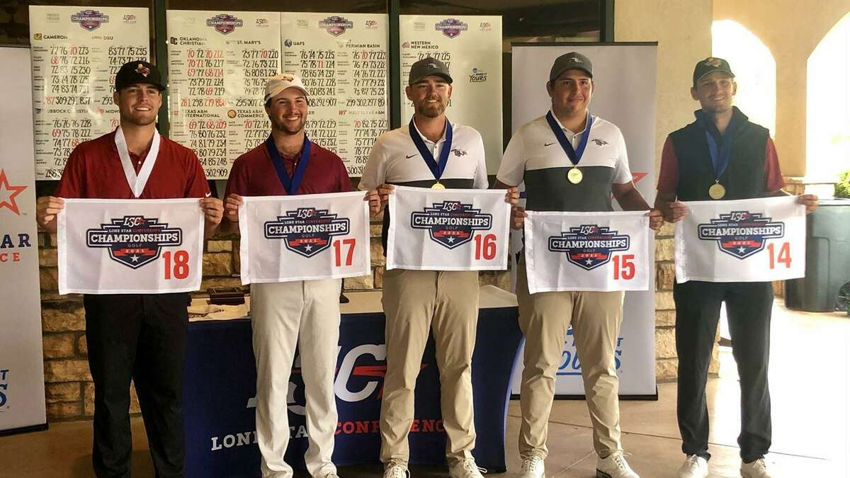 TAMIU senior Parker Holekamp, second from left, shot a three-round total of 209 at the LSC Championships.