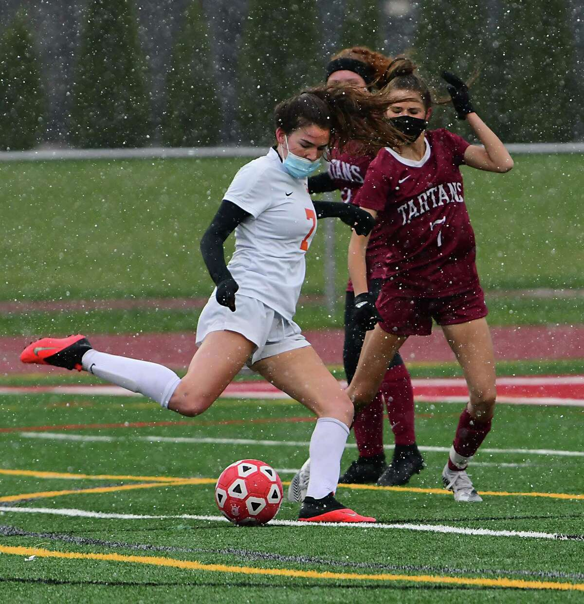 Bethlehem's Katie Sellers scores against Scotia-Glenville during a soccer game on Wednesday, April 21, 2021 in Scotia, N.Y. (Lori Van Buren/Times Union)