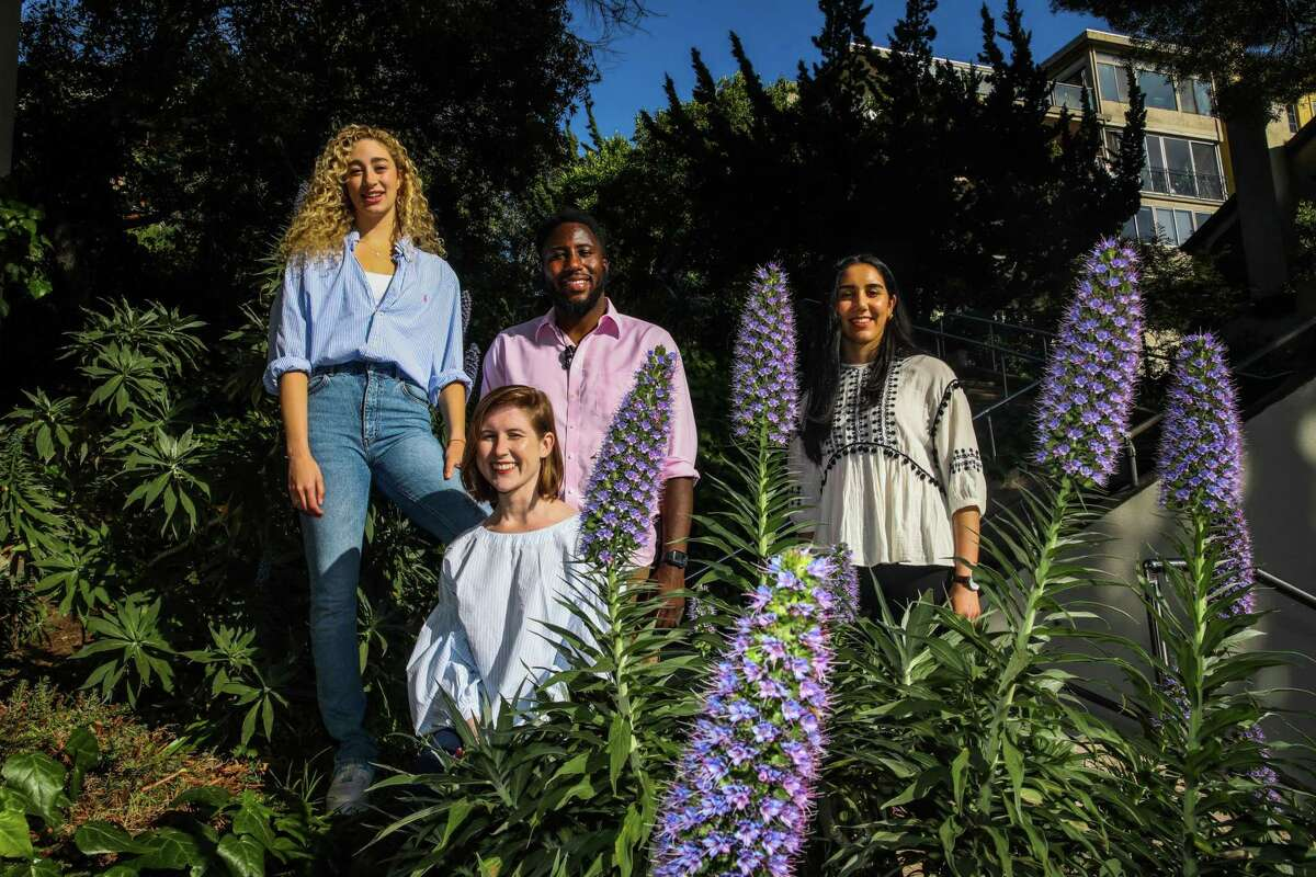 Taylor Birdsong (left), Erin Kraemer, Nseke Ngilbus, and Dorsa Moslehi, all seniors at UC Berkeley, are attempting to connect older minority residents in Oakland to vaccines with a 20th century invention - a volunteer-staffed hotline.