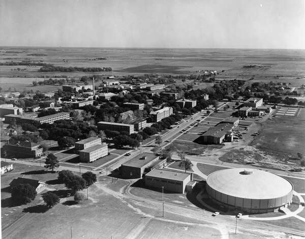 A December 1966 aerial view shows the Prairie View A&M College campus with the then-recently completed multi-purpose domed field house at the lower right. Photo: Houston Chronicle File / handout / Houston Post files