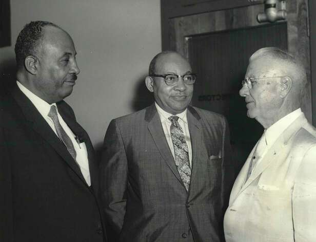 Board chairman Mack H. Hannah Jr., left, Dr. S.M. Nabrit, center, and Judge John H. Crooker, right, discuss Texas Southern University's new building program Oct. 31, 1961. Judge Crooker was appointed to the TSU Board by Gov. Price Daniel. Photo: Evans / TSU Courtesy Photo / handout