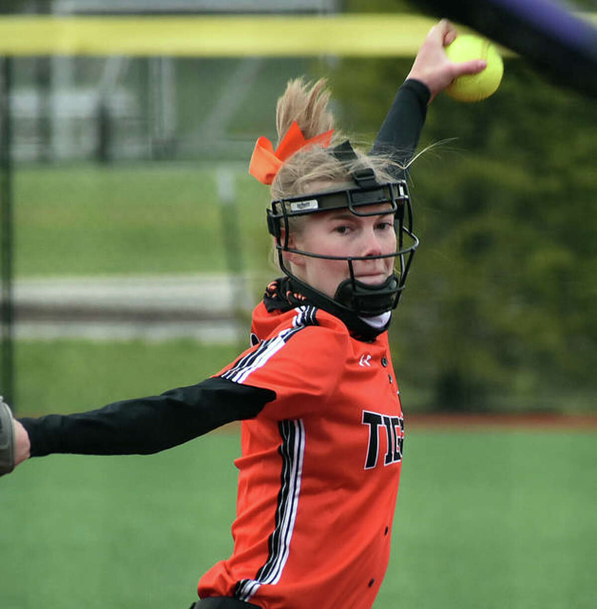 Edwardsville starting pitcher Ryleigh Owens with a first-inning pitch to a Southwestern hitter during Wednesday's game at Plummer Family Park in Edwardsville.