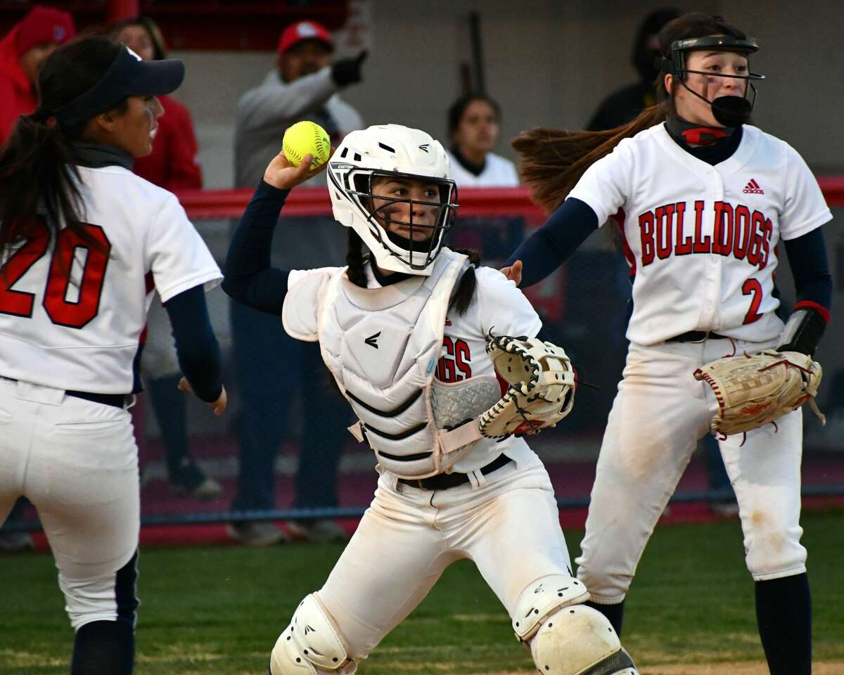 Plainview's Aaleah Rodriguez readies to fire over to first base for a double play during a District 3-5A softball game on Tuesday at Lady Bulldog Park.