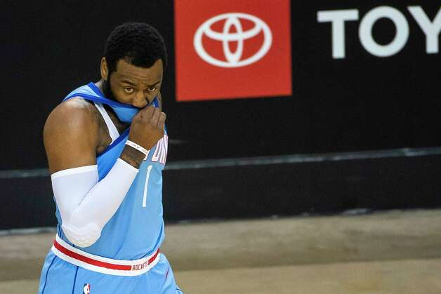 Houston Rockets guard John Wall (1) reacts after a shot during the first quarter of an NBA game between the Houston Rockets and Utah Jazz on Wednesday, April 21, 2021, at Toyota Center in Houston. Photo: Mark Mulligan, Staff Photographer / © 2021 Mark Mulligan / Houston Chronicle