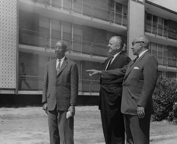 Open house for four new buildings at Texas Southern University was held Thursday, Sept. 27, 1962. Looking over the new men's residence are, left to right, Dr. Willett Banks, president emeritus of Prairie View A&M College and Tennessee State University board member; Dr. Harvey Reneger, Hallettsville, board member and past president of the Texas Medical Association, and Dr. S. M. Nabrit, Tennessee State University president. Photo: Houston Chronicle File