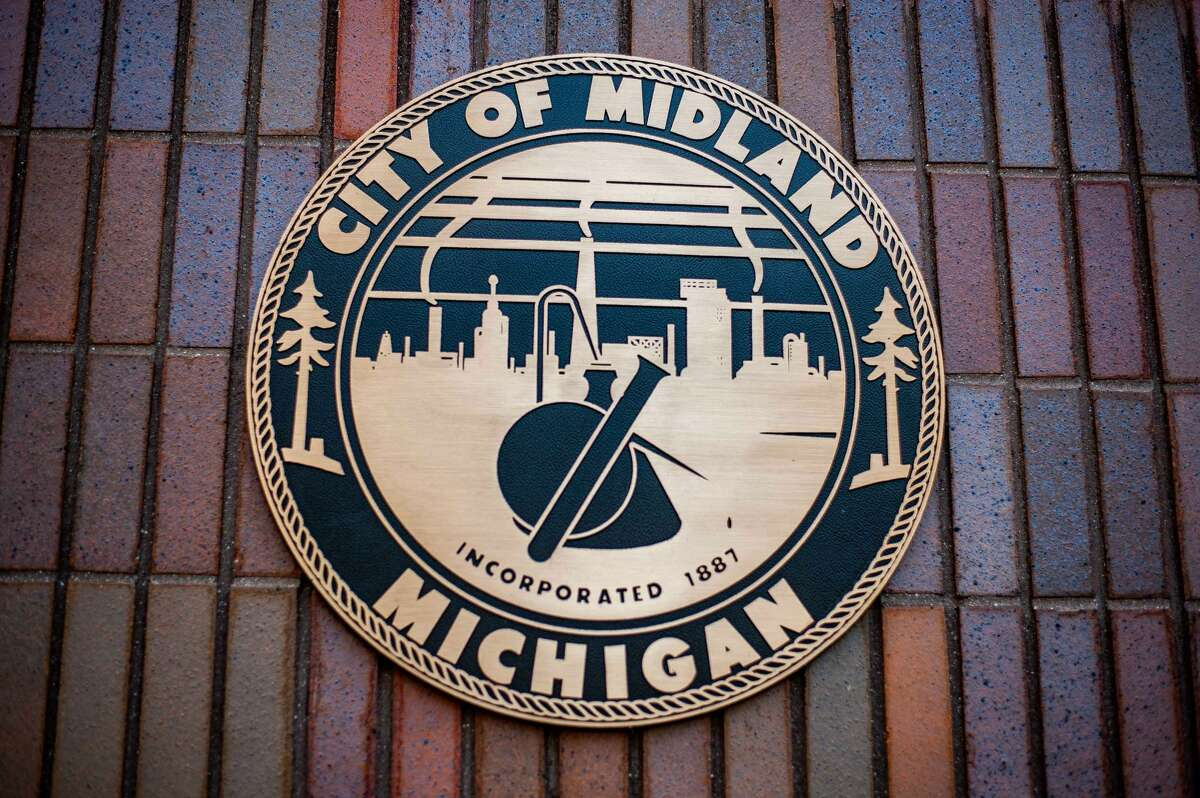 The City of Midland seal sits on the city hall building at 333 W. Ellsworth St. on April 21, 2021.