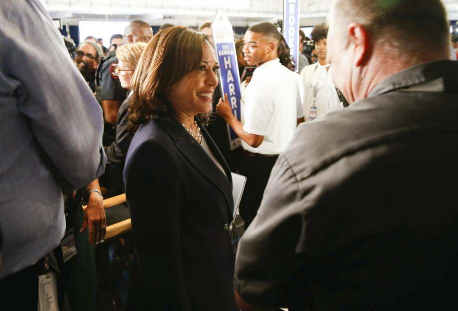 Then Democratic presidential candidate Kamala Harris is pictured after a debate at Texas Southern University's Health & PE Arena Sept. 12, 2019.  Photo: Elizabeth Conley/Staff Photographer / © 2019 Elizabeth Conley / Houston Chronicle