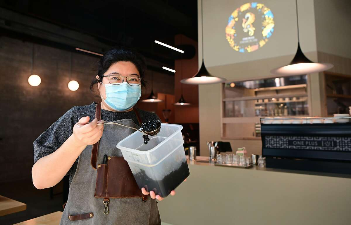 One Plus owner Yezi Sha displays cooked boba at her store in Berkeley.