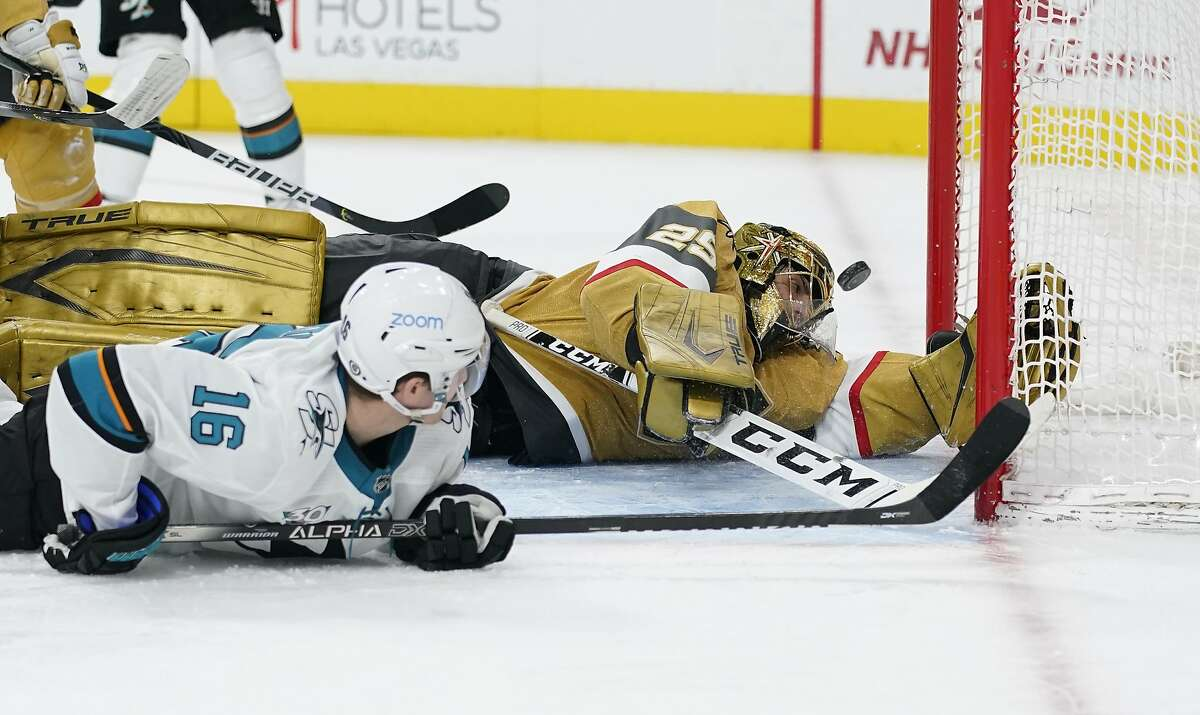Ryan Donato tries to get a shot past Vegas goalie Marc-Andre Fleury in the third period. Fleury made 31 saves for his 487th victory - two behind Roberto Luongo for third all-time.