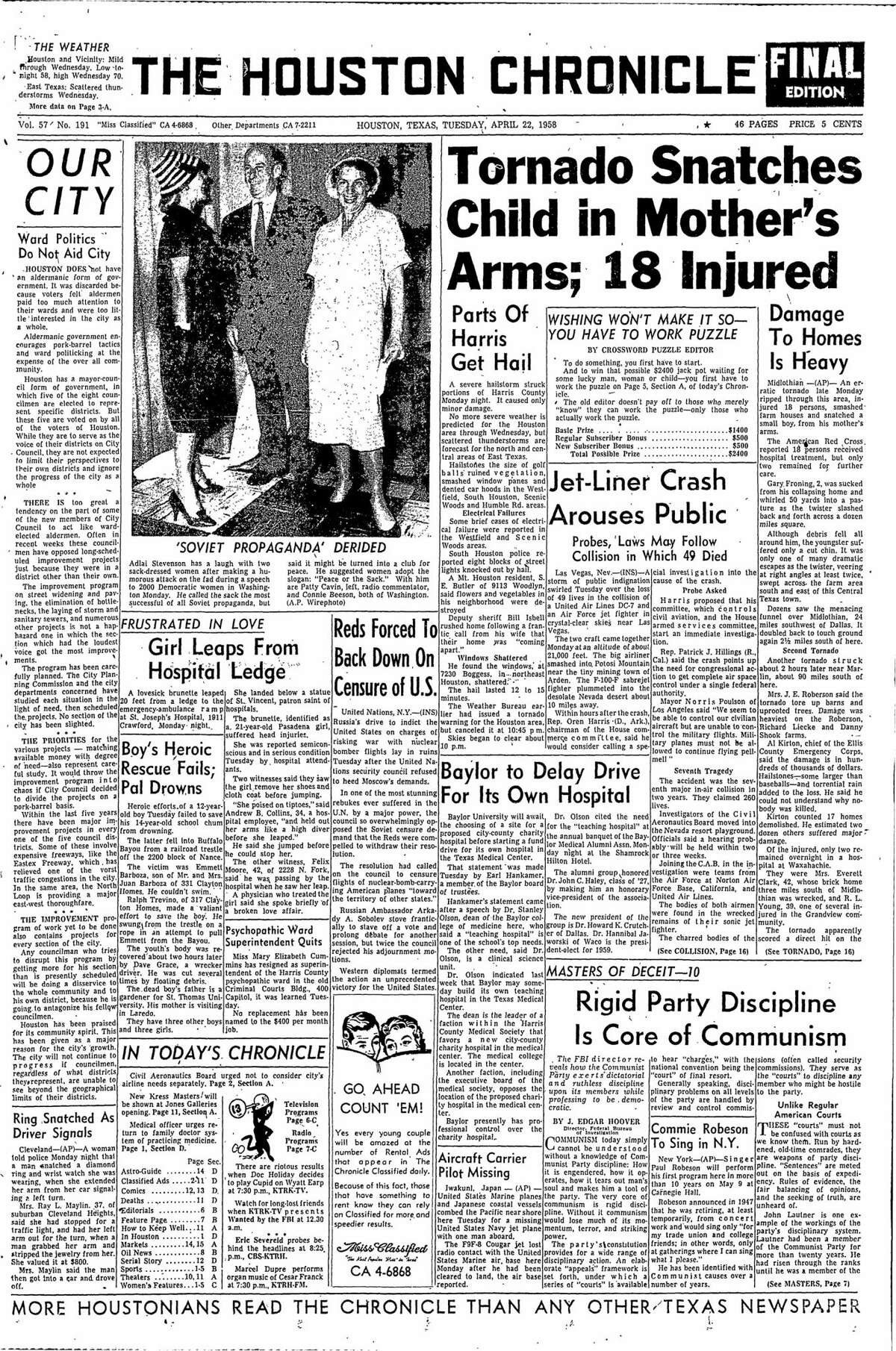 Houston Chronicle front page from April 22, 1958.