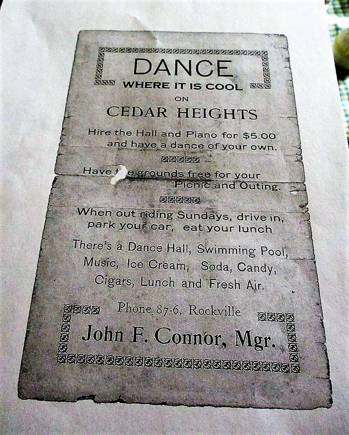 Flyer from Cedar Heights resort, around 1920