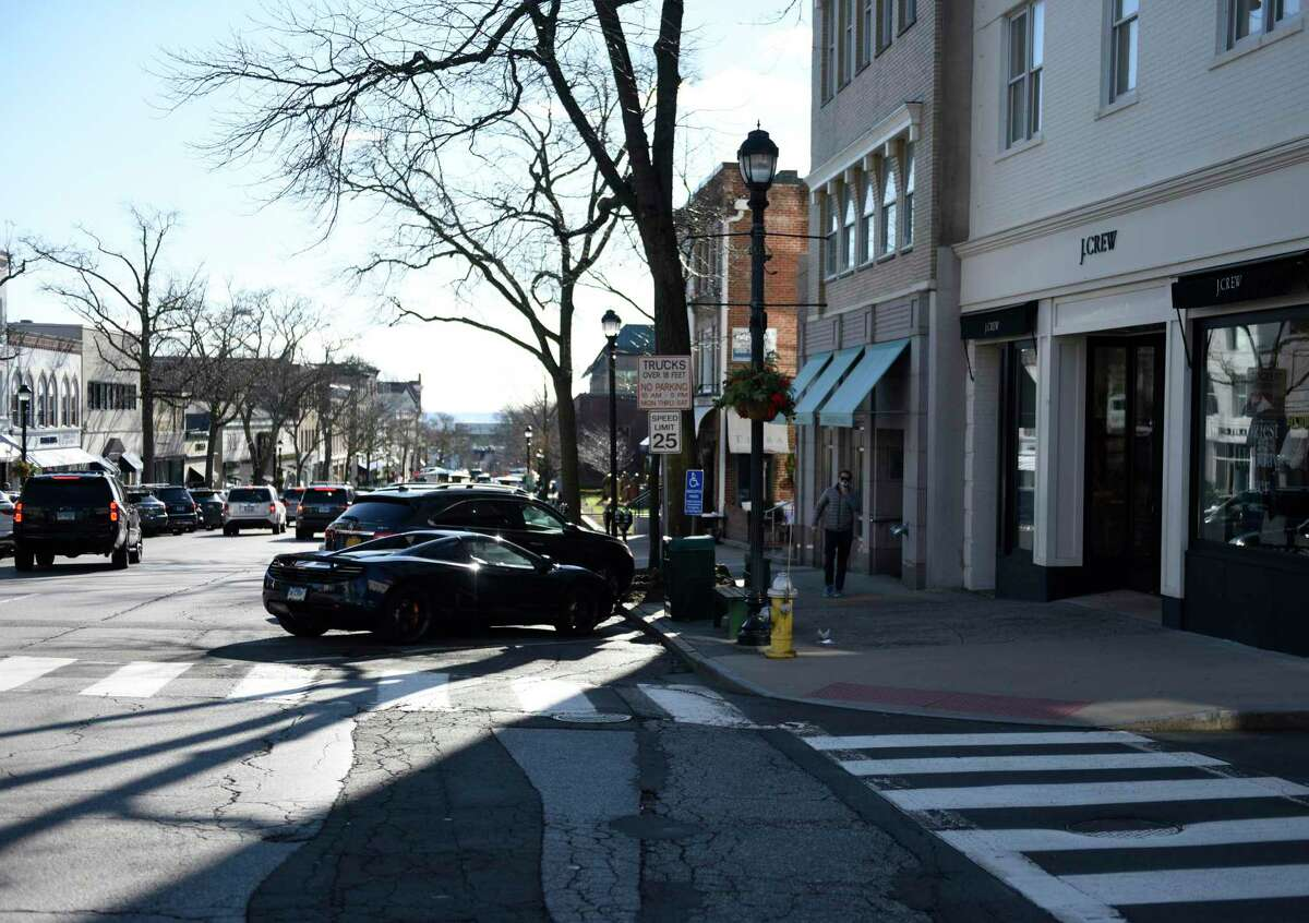 """The state's wealthiest would pay a new """"consumption tax"""" based on their incomes, under legislation under consideration in the State Capitol by majority Democrats. Show here is Greenwich Avenue, the downtown stretch of one of the state's most affluent towns."""