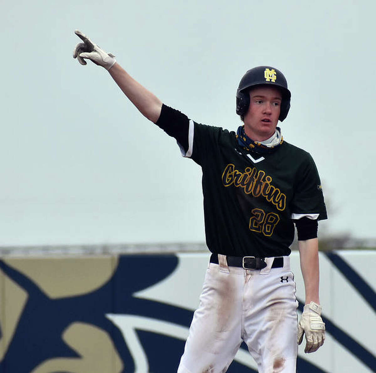 Father McGivney's Drew Sowerwine set single-game program records for hits, RBIs and total bases in a win over Odin on Wednesday.