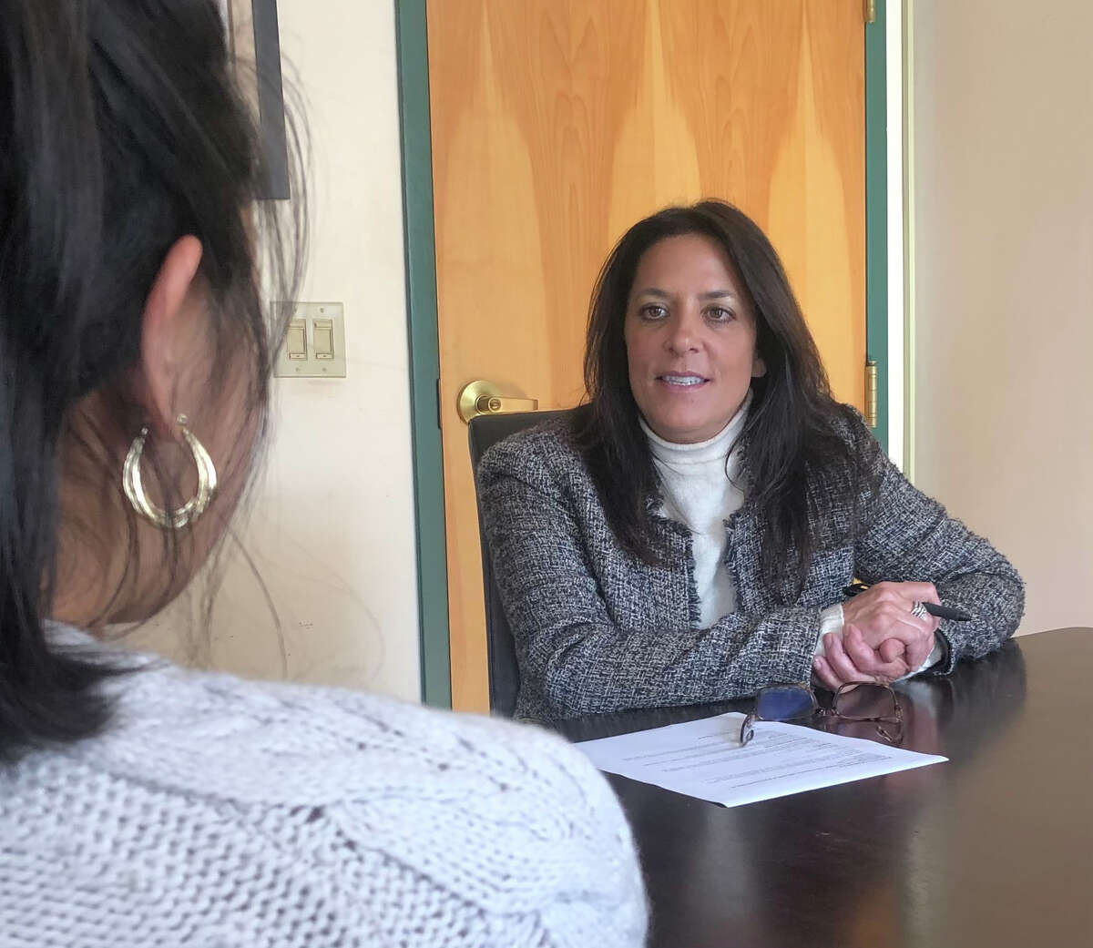 Nancy Bambera, right, vice president and chief operating officer of DZ Restaurants, which operates three eateries in Saratoga Springs, interviews a job candidate on Thursday, April 21, 2021. (Photo courtesy DZ Restaurants.)