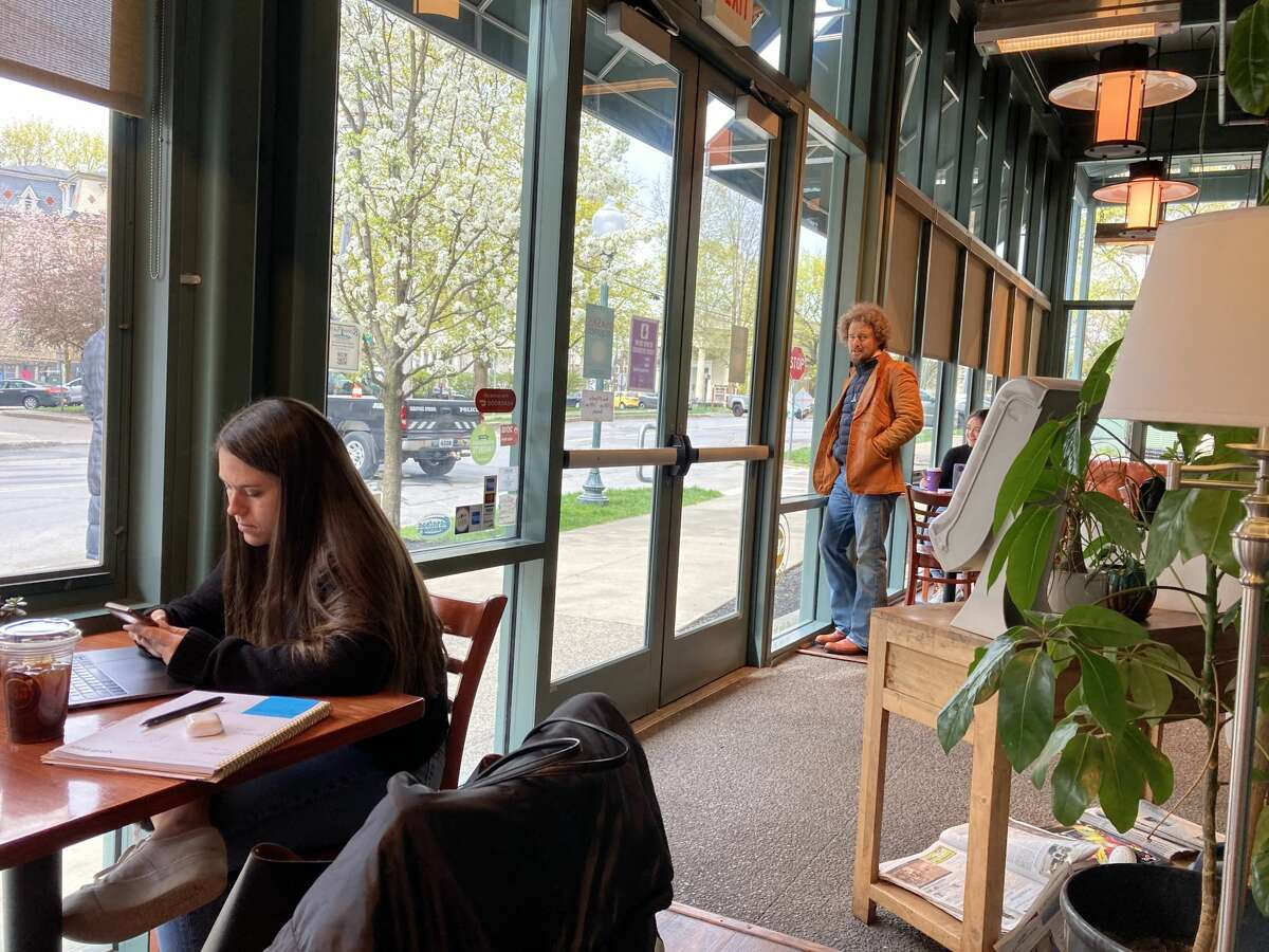 """Owen Wilson takes a break from filming the movie """"Paint"""" in Saratoga Springs to enjoy the warmth inside Spot Coffee on Thursday, April 22, 2021."""
