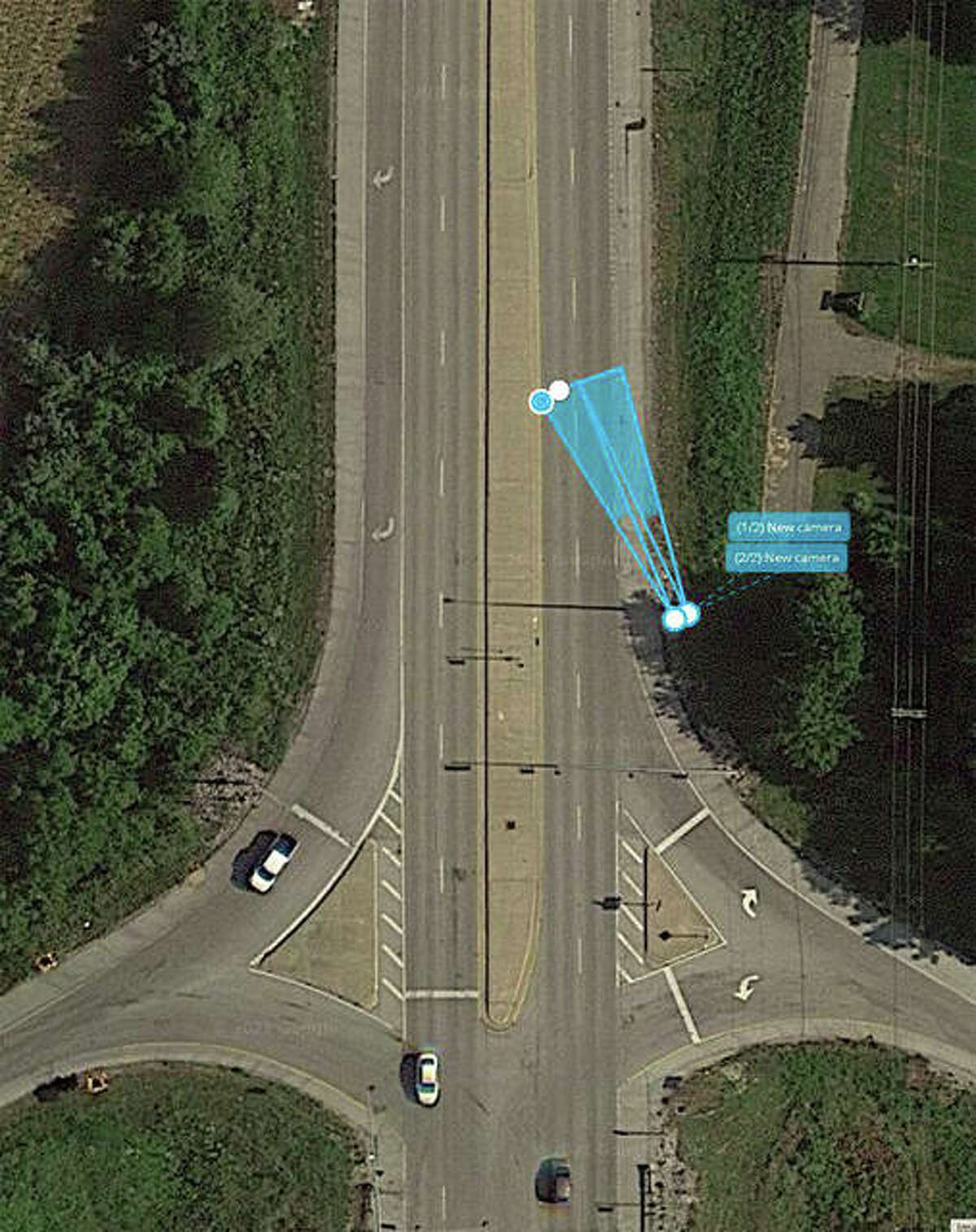 This photo illustration shows the placement on northbound Route 159 for the second set of license plate reader (LPR) cameras that will go to the village board Tuesday for approval.
