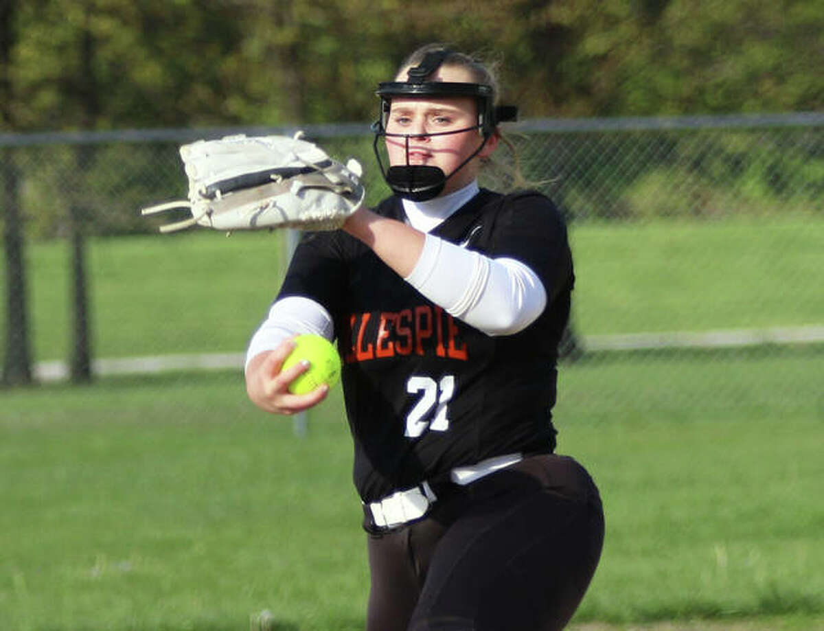 Gillespie pitcher Sydney Bires delivers a pitch to the plate Wednesday during her one-hitter against Metro-East Lutheran at Sigmund Bohnet Field in Edwardsville.