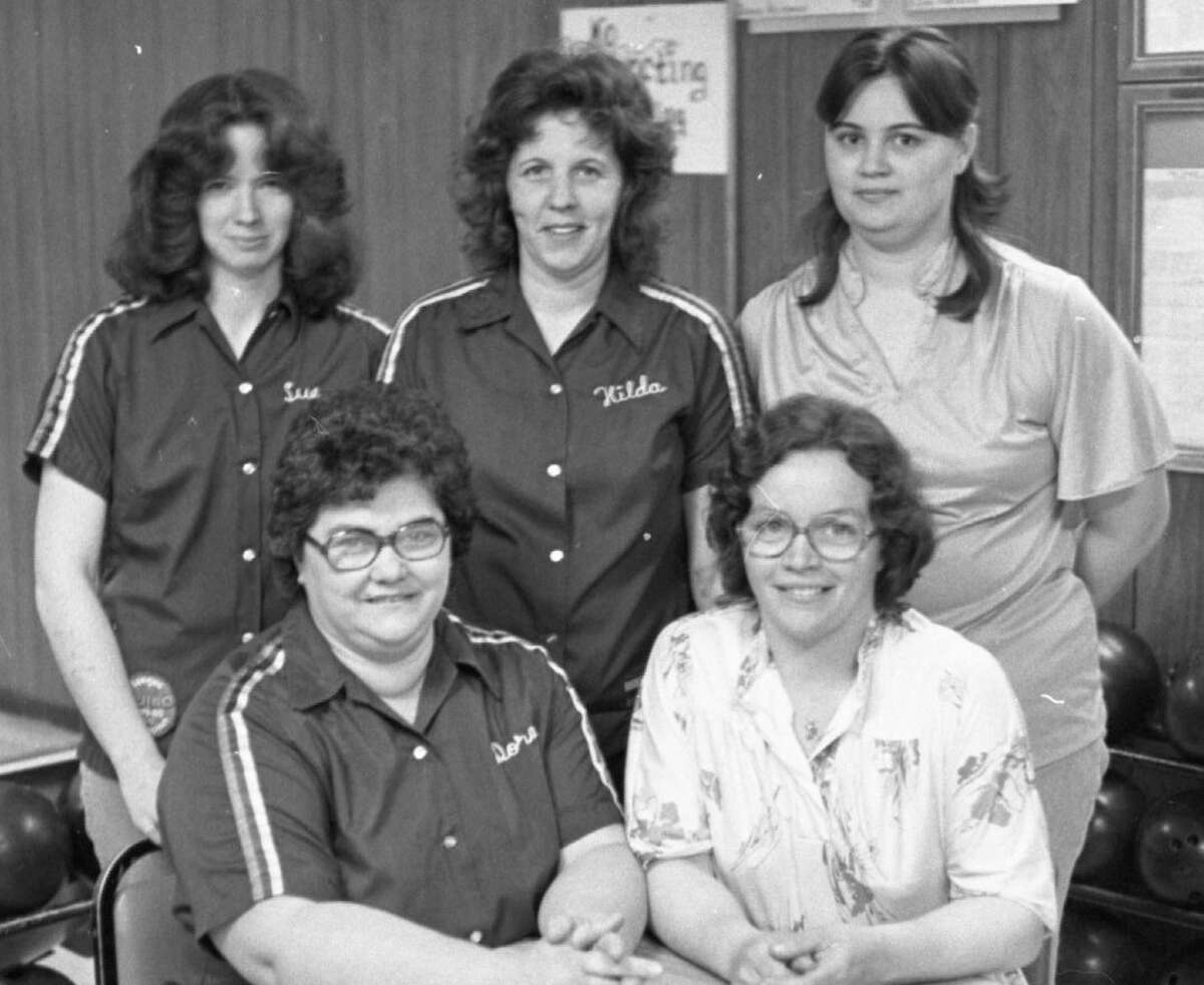 Last night in the Ladies Classic League, these ladies took first place. Their sponsor, Manistee Welding, should be proud because they also took first place in the first half of the bowling season. (From left) Pictured in the front row are Dora Edmonson, Mary Edmonson andback row areSue Edmonson, Hilda Edmonson and Vicki Lijewski. Not pictured were Terry Tetzlaff and Sharon Edmonson. The photo was published in the News Advocate on April 23, 1981. (Manistee County Historical Museum photo)