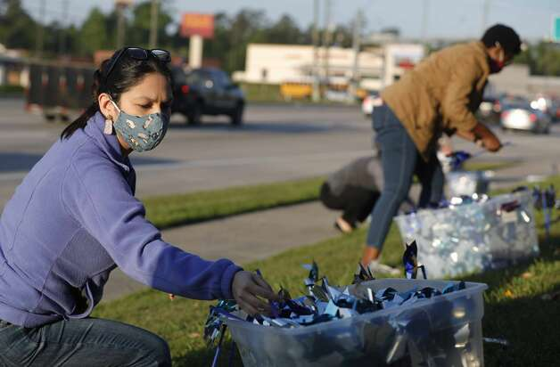 Ana Gonzalez helps install pinwheels as volunteers and community members place 2,322 pinwheels along FM 1488 and FM 2978, Thursday, April 22, 2021, in Magnolia. The annual installation by Children's Safe Harbor recognizes the number of child cases in Montgomery County and raises awareness of Child Abuse Prevention and Awareness Month.  Photo: Jason Fochtman/Staff Photographer / 2021 ? Houston Chronicle