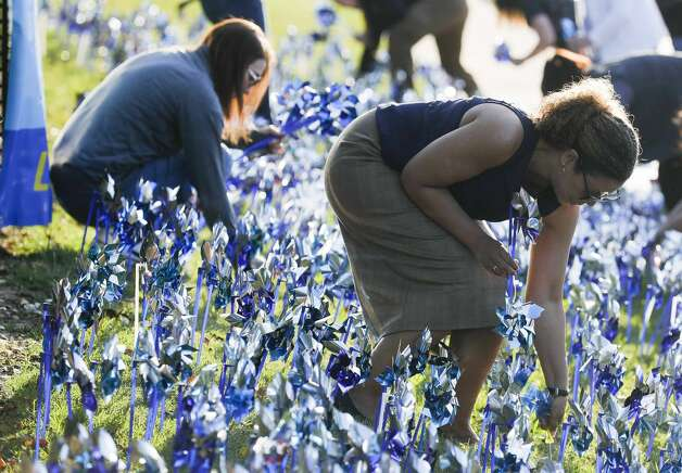 Volunteers and community members installed 2,322 pinwheels along FM 1488 and FM 2978, Thursday, April 22, 2021, in Magnolia. The annual installation by Children's Safe Harbor recognizes the number of child cases in Montgomery County and raises awareness of Child Abuse Prevention and Awareness Month. Photo: Jason Fochtman/Staff Photographer / 2021 ? Houston Chronicle