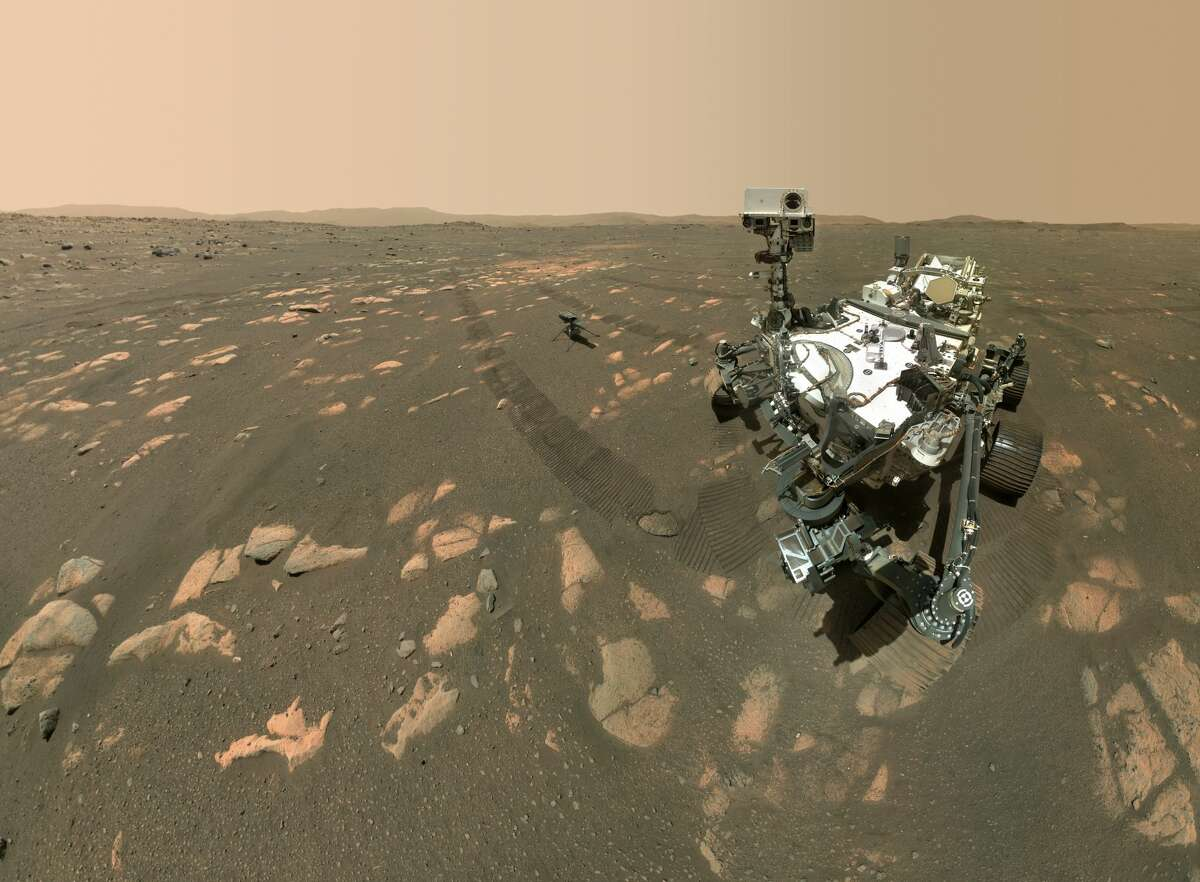 NASA's Perseverance Mars rover took a selfie with the Ingenuity helicopter on April 6, 2021.