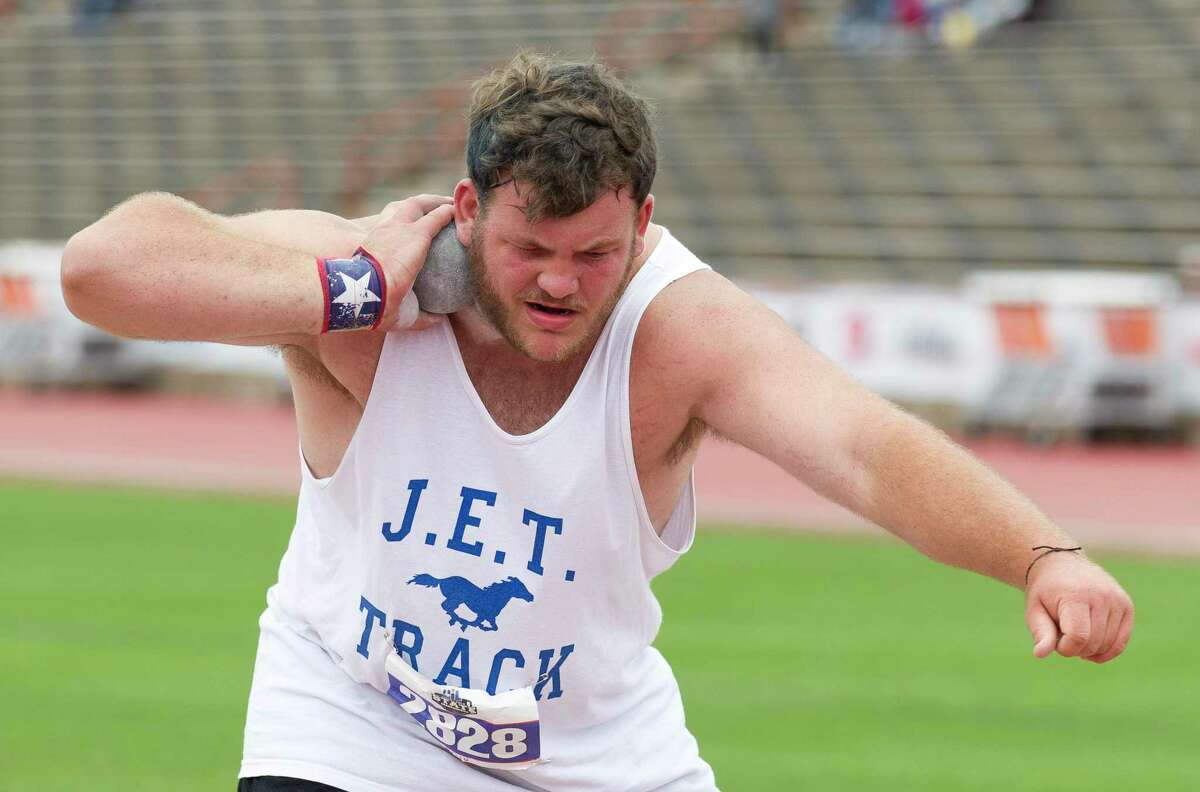 Bryce Foster of Katy Taylor competes in the 6A boys shot put competes in the 6A boys shot put during the UIL State Track & Field Championships at Mike A. Myers Stadium, Saturday, May, 11, 2019, in Austin.