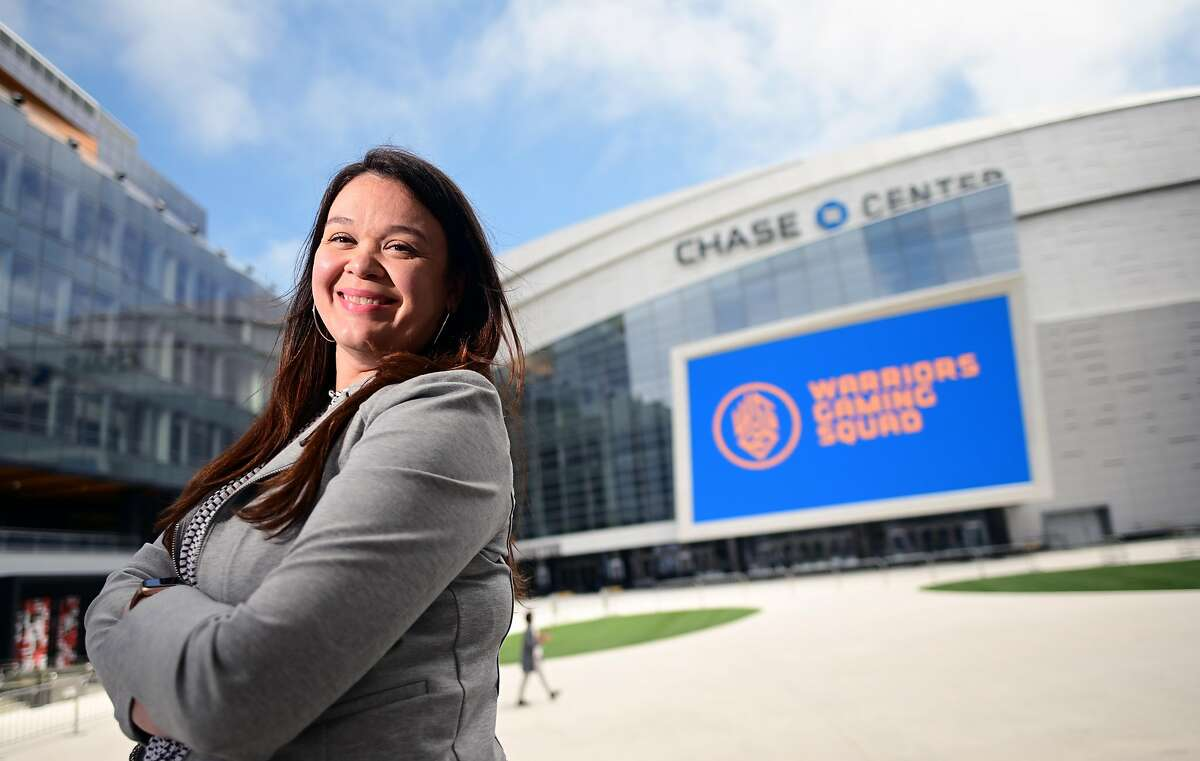 Warriors' director of facility health and hygiene Jackie Ventura stands for a photo at Chase Center in San Francisco.