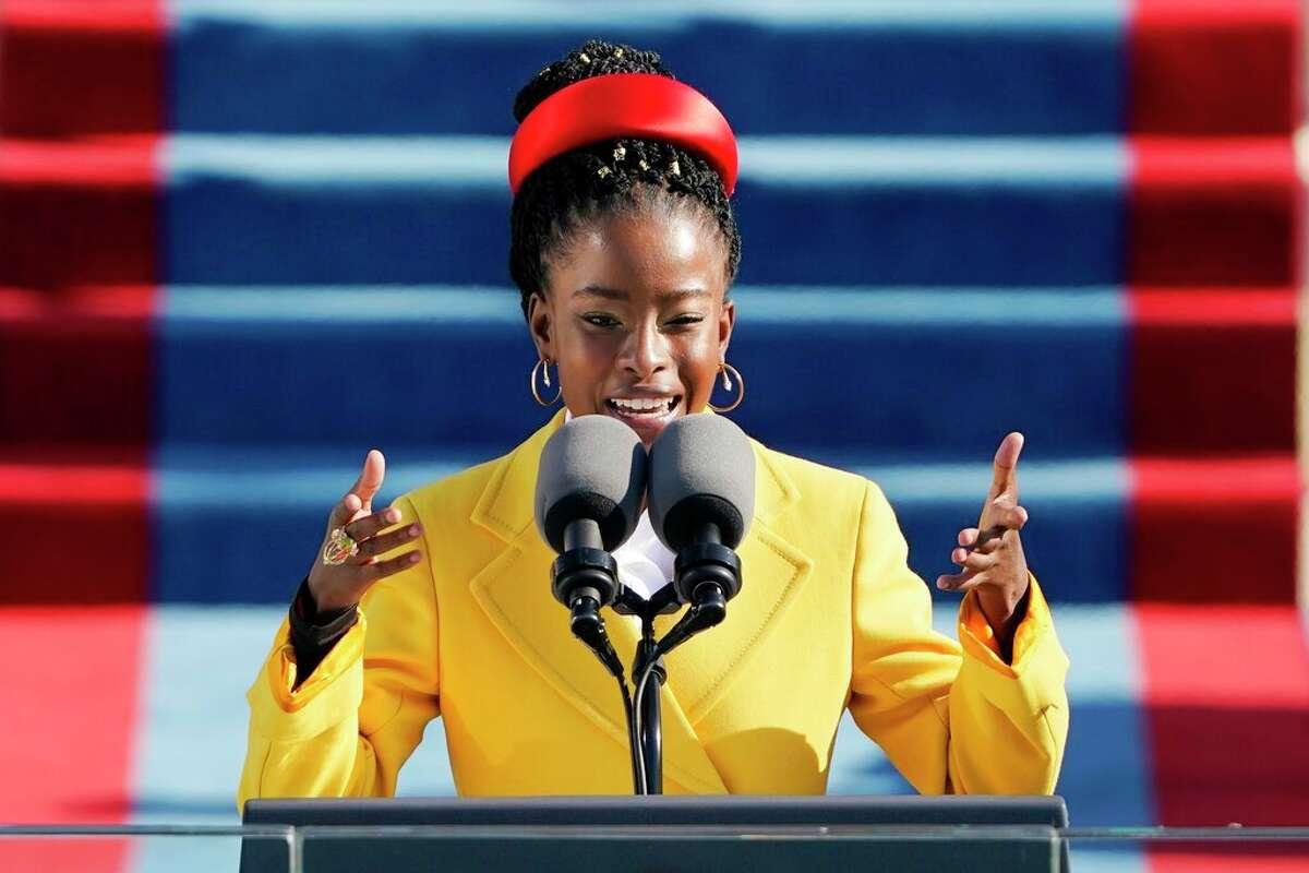American poet Amanda Gorman reads a poem during the 59th Presidential Inauguration at the U.S. Capitol in Washington, Wednesday, Jan. 20, 2021. (AP Photo/Patrick Semansky, Pool)
